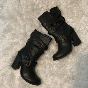 Arizona Sz 9M Black Pull On Double Buckle Boots